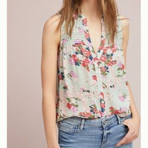 Anthropologie Meadow Rue Pintucked Sleeveless Top